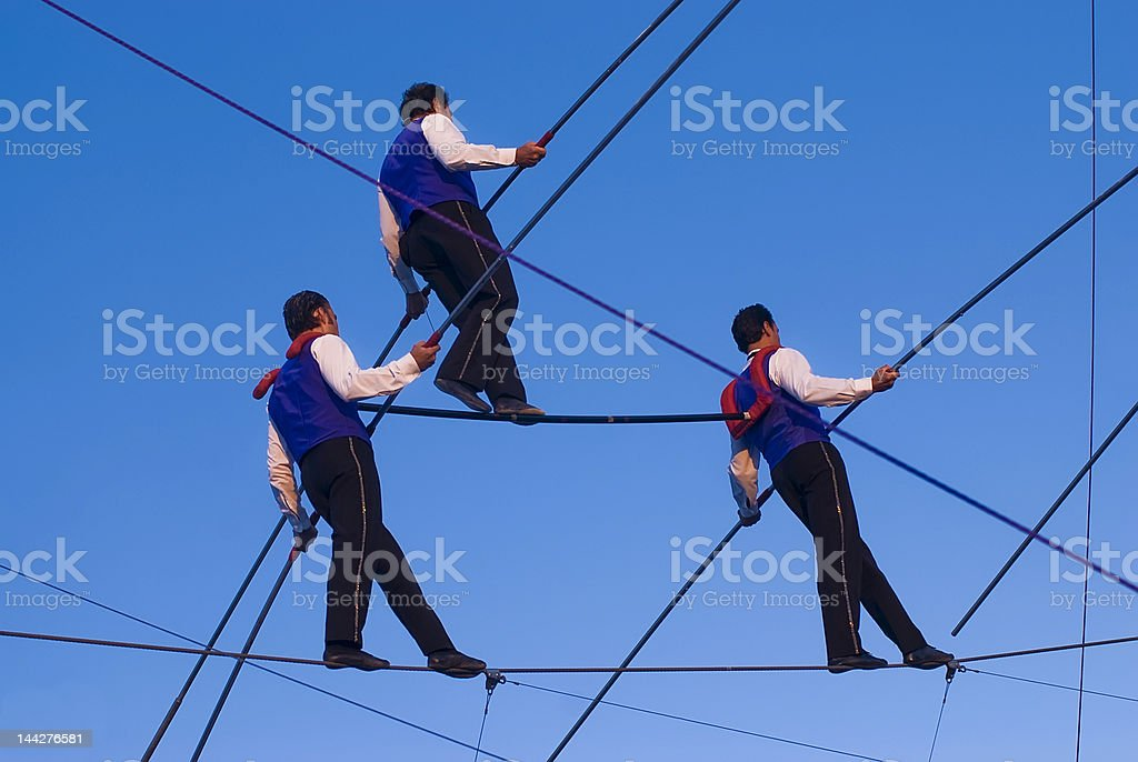Walking the Wire stock photo