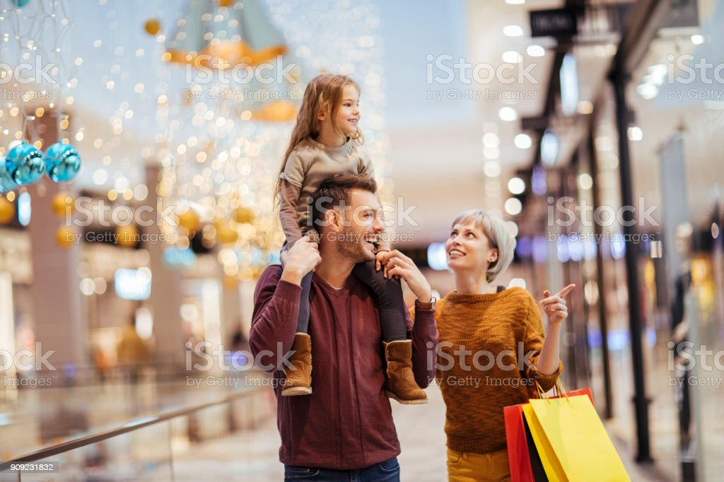 Walking through the mall stock photo