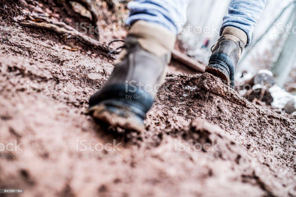 Walking through the mud stock photo