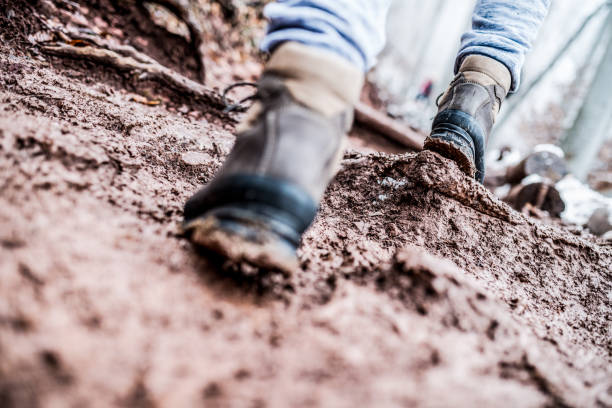 walking through the mud - dirty shoes stock photos and pictures