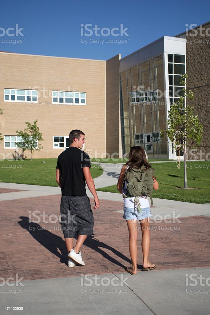Walking to Class royalty-free stock photo