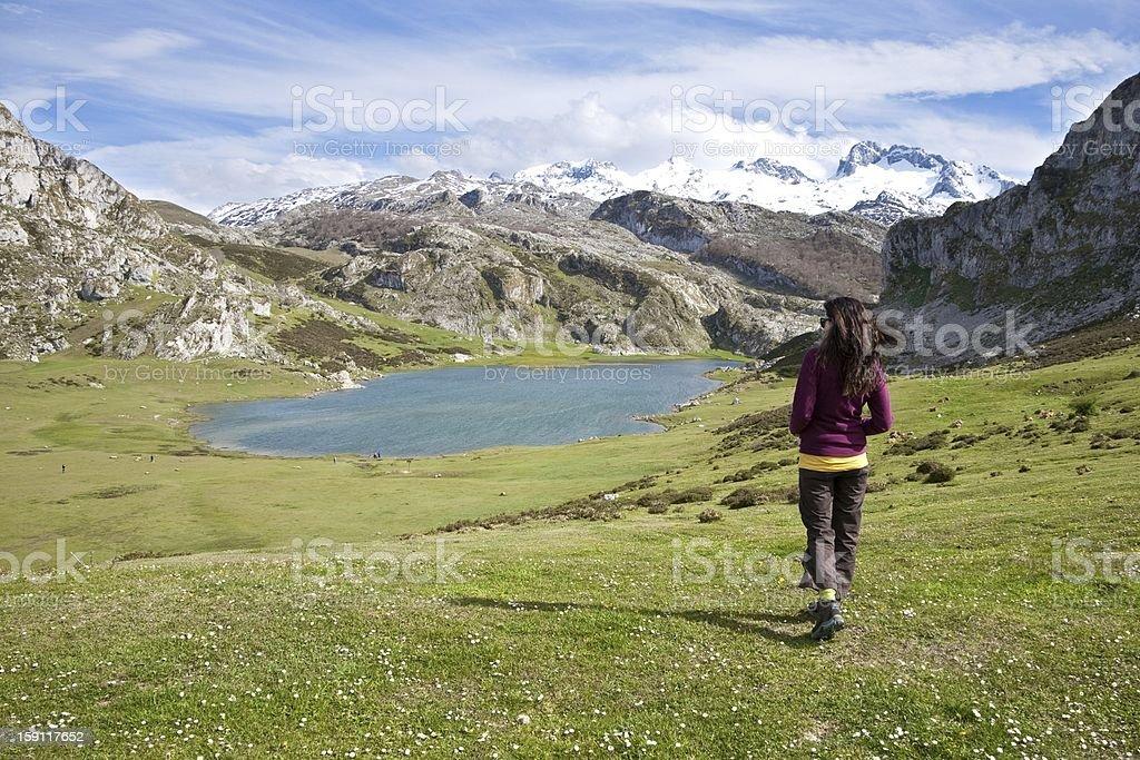 walking to Ercina lake royalty-free stock photo