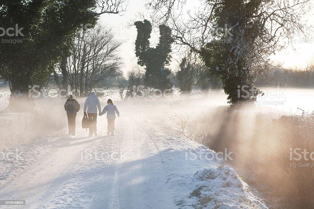 Walking to school in winter royalty-free stock photo