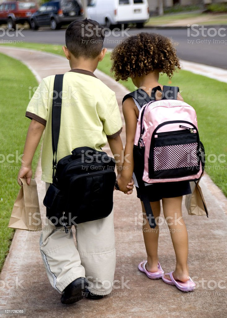 Walking to school stock photo