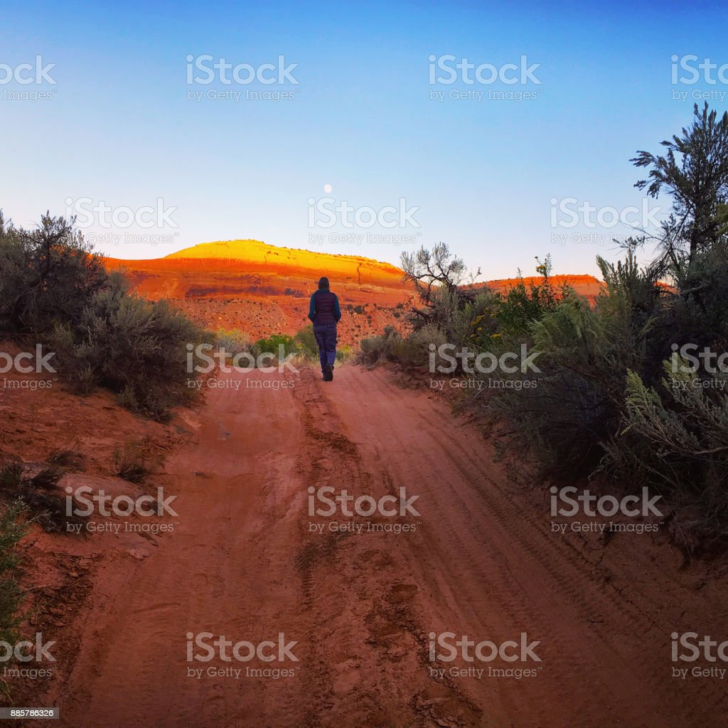 Walking to the moon stock photo