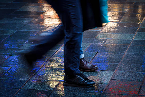 Walking together in neon stock photo