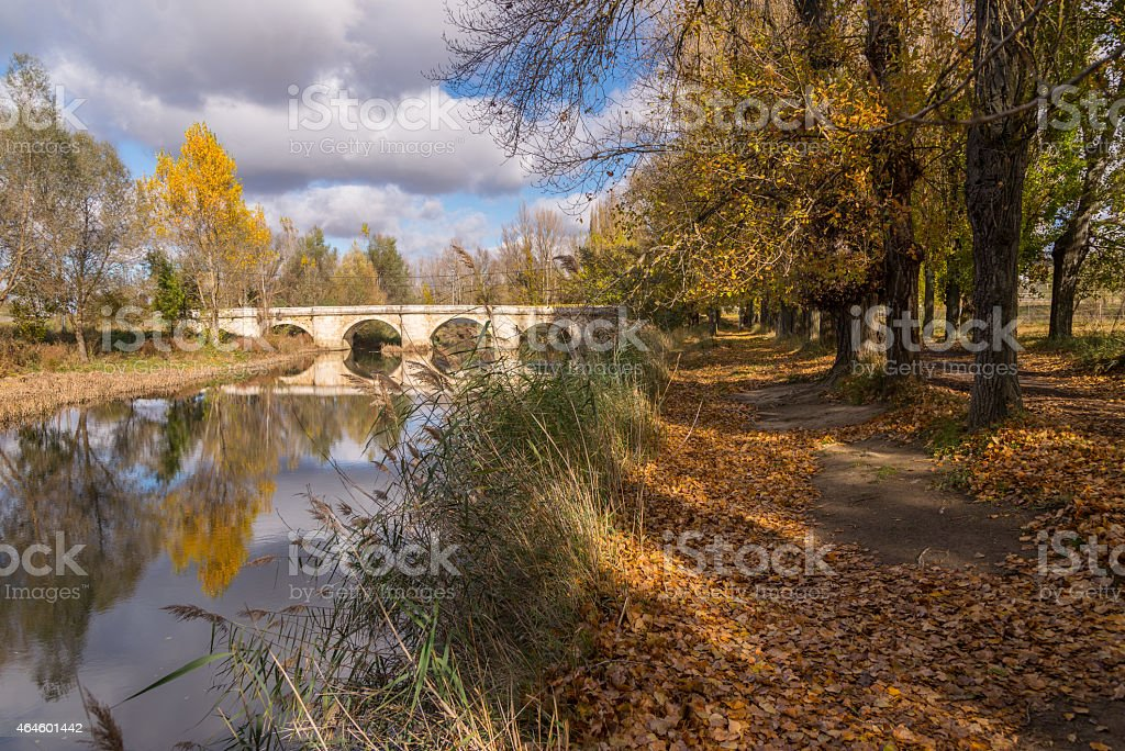 Walking towards the stone bridge over iver Carrión stock photo