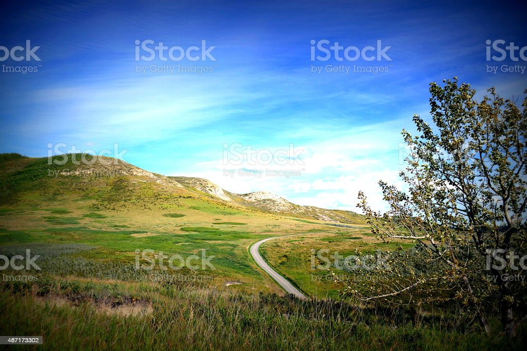 Walking trail in Glenbow Ranch Provincial Park stock photo