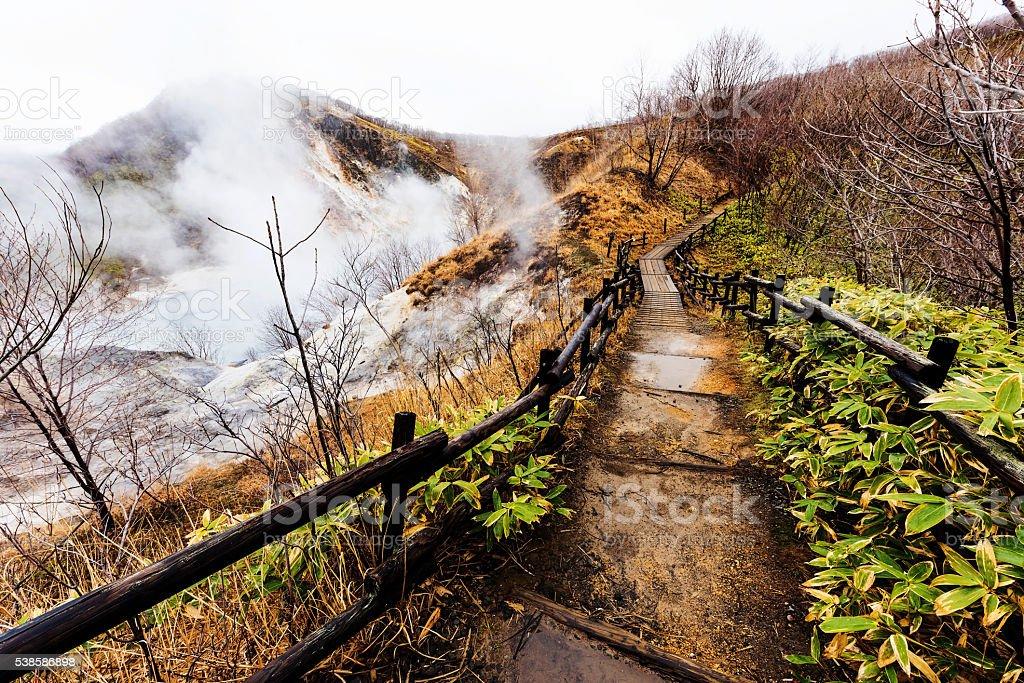 Walking trail to Lake Oyunuma, Noboribetsu stock photo