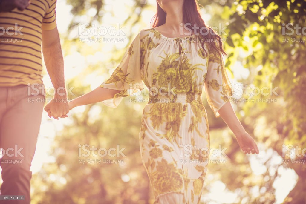 Walking trough nature. Couple in love. Close up. royalty-free stock photo