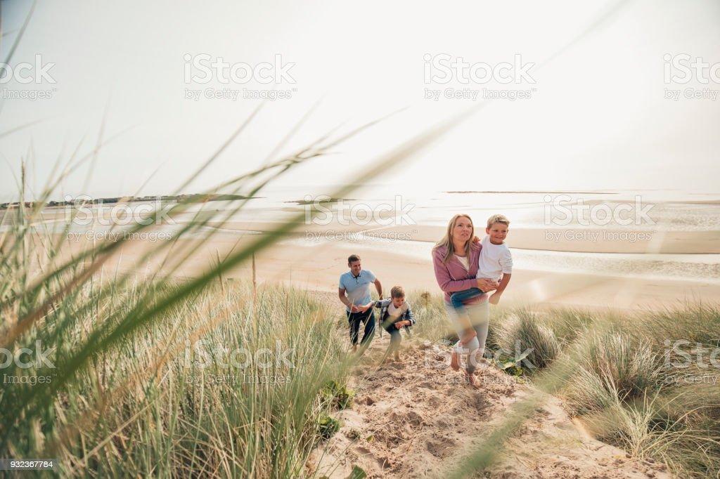 Walking up the Sand Dune stock photo