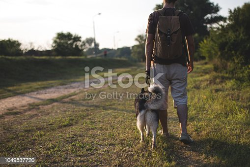 istock Walking with best friend. Copy space. 1049537720