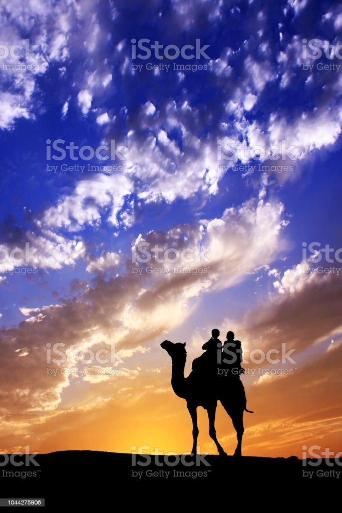Walking mit Kamel durch die Wüste Thar in Indien, Silhouette und Dramatischer Himmel zeigen – Foto