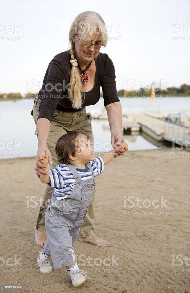 walking with grandma royalty-free stock photo