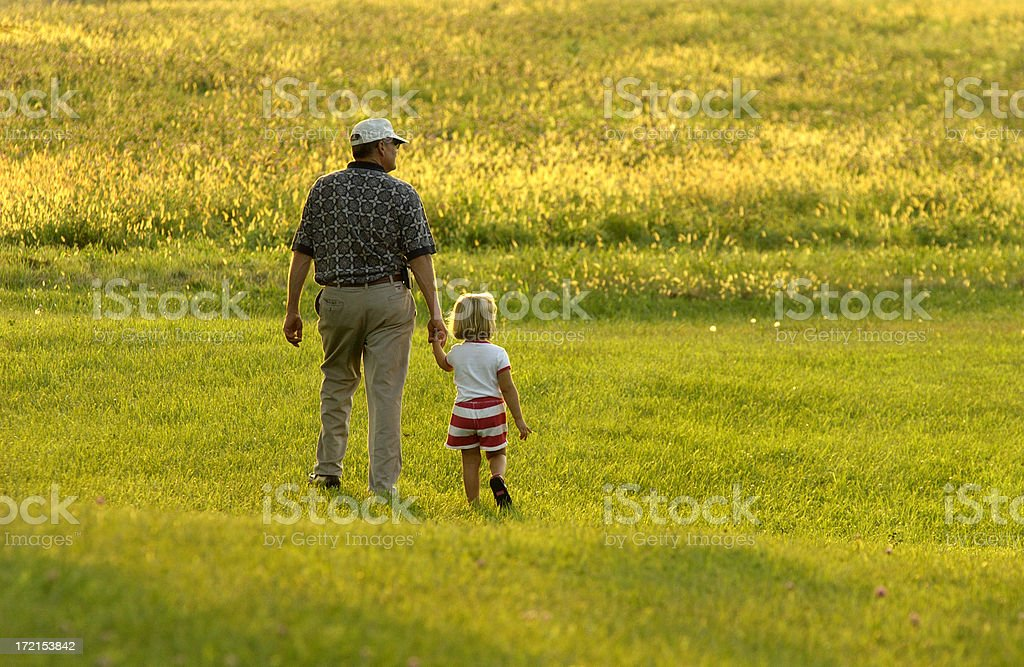 Walking with Grandpa 2 royalty-free stock photo
