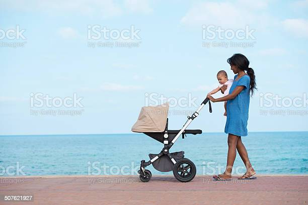 Photo of Walking with mother on seacoast.