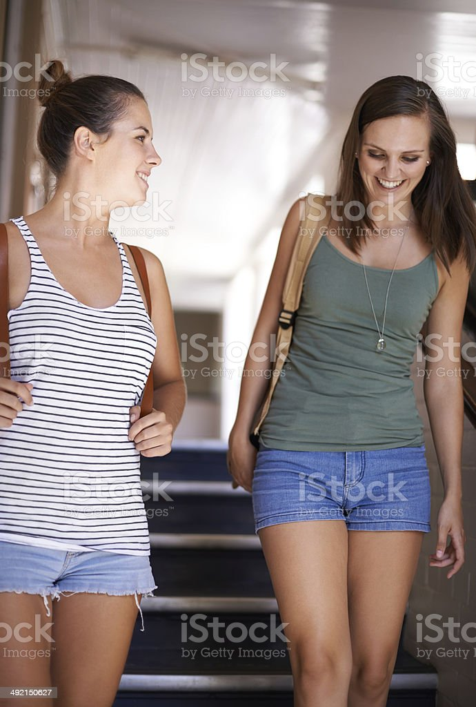Walking with my bestie to the next class royalty-free stock photo