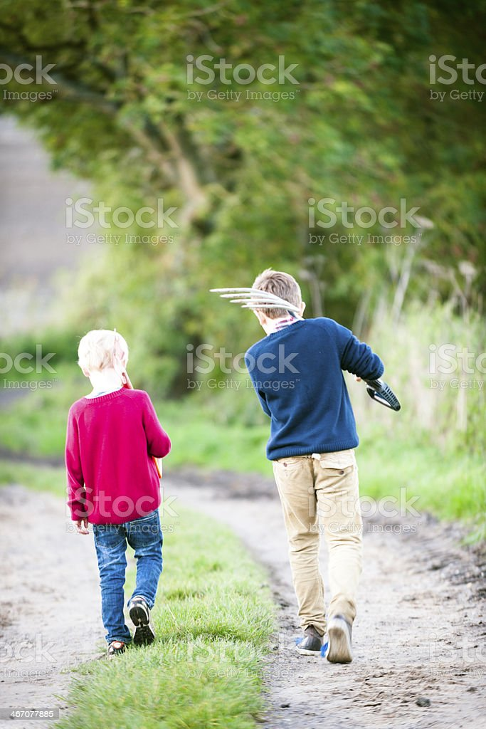 Walking With My Brother royalty-free stock photo