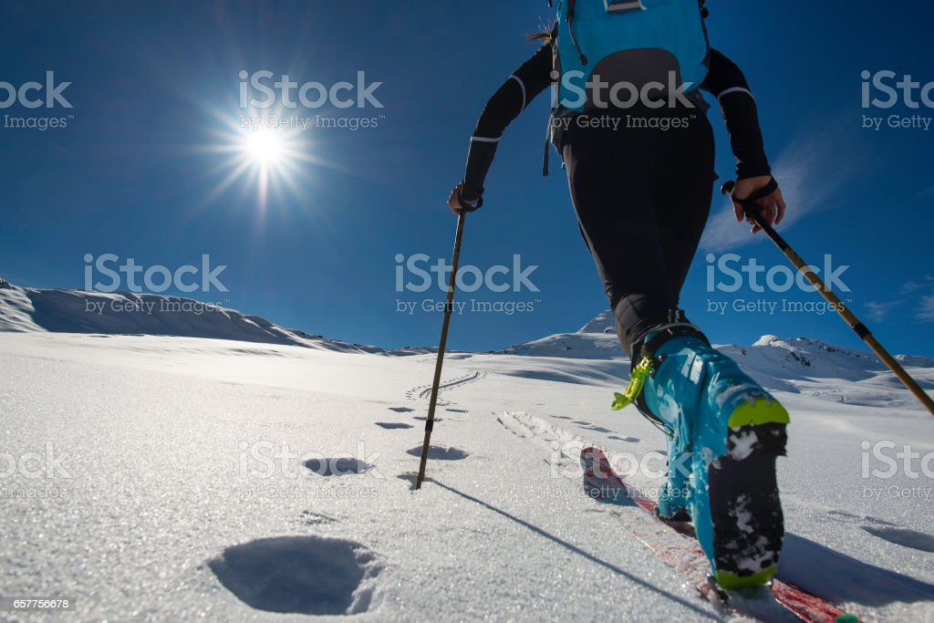 Walking with  Walking with  ski mountaineering with sealskins in mountains  in mountains stock photo