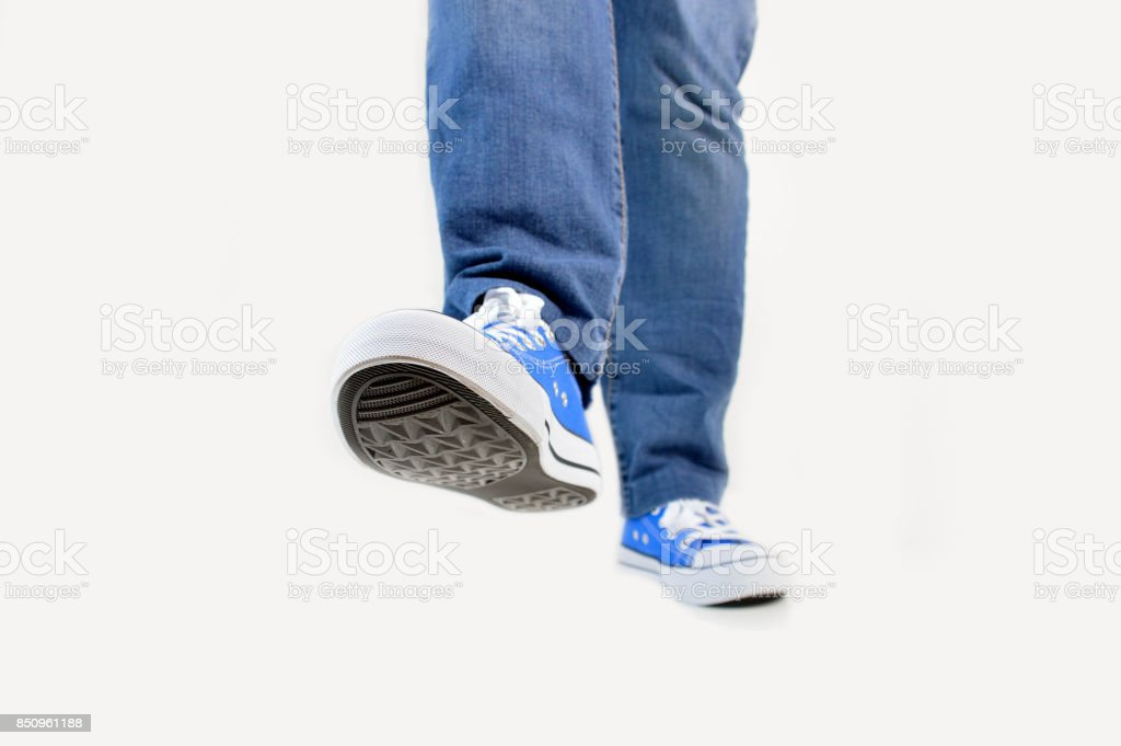 walking with white background stock photo