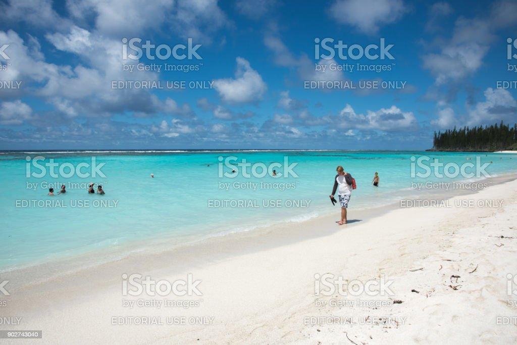 Walking Yejele Beach stock photo