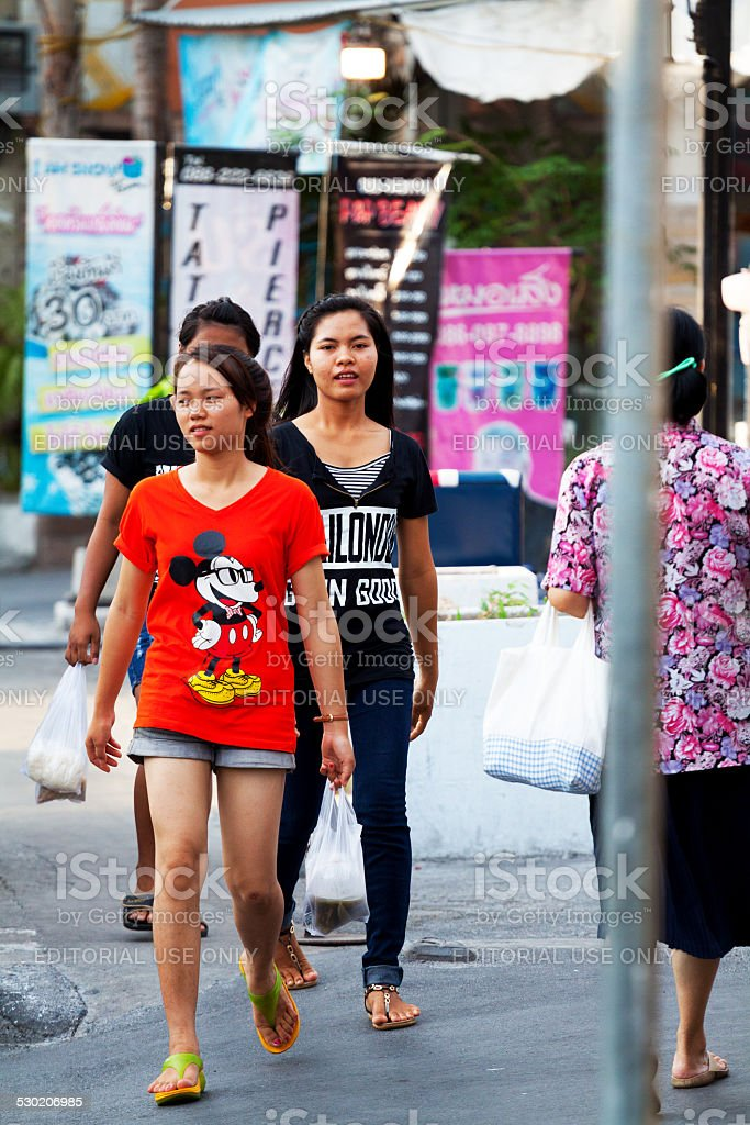 Walking Young Thai Girls Stock Photo - Download Image Now