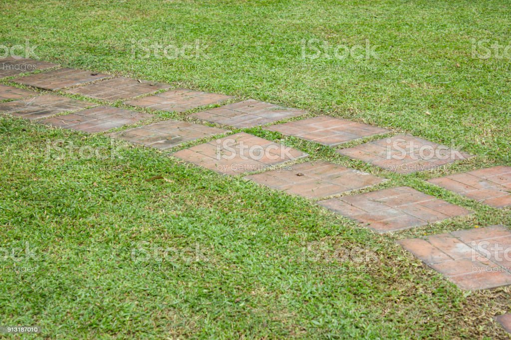 Walkpath and green grass, footpath stock photo