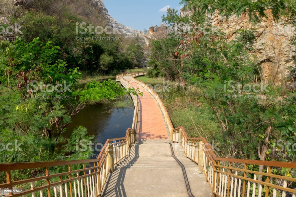 Walkpath and staircase with bicycle rack, outdoor at park. stock photo