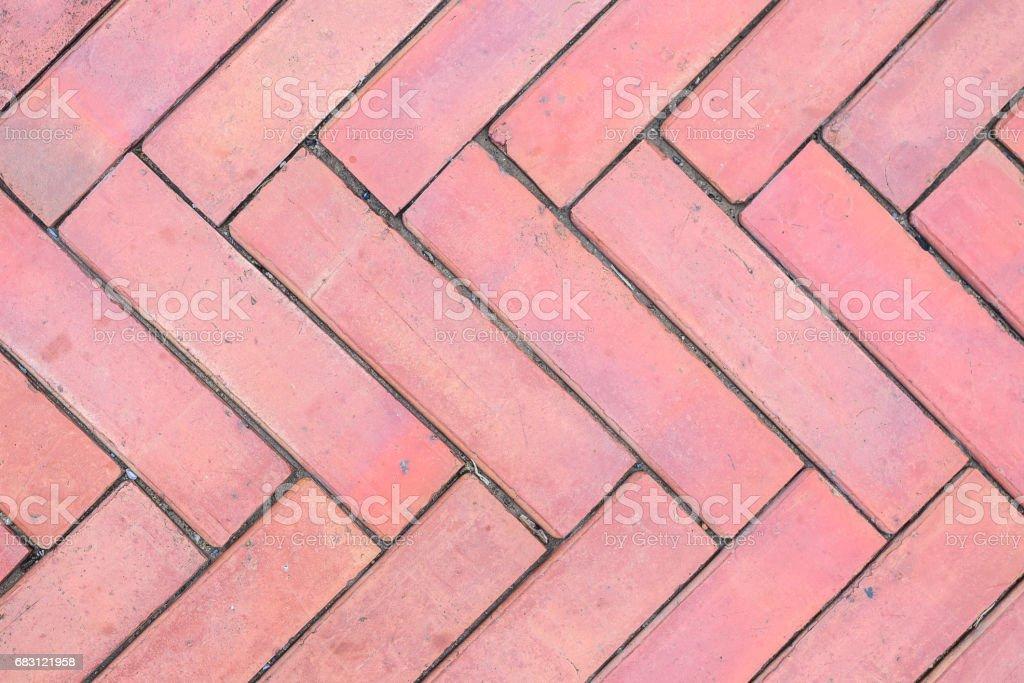 Walkpath flooring from red brick block. stock photo