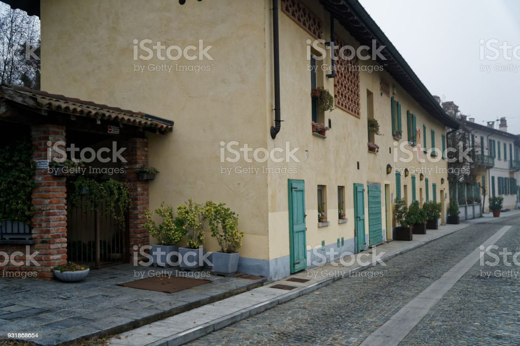 Walkpath on a street in Italy city Old town exterior stock photo