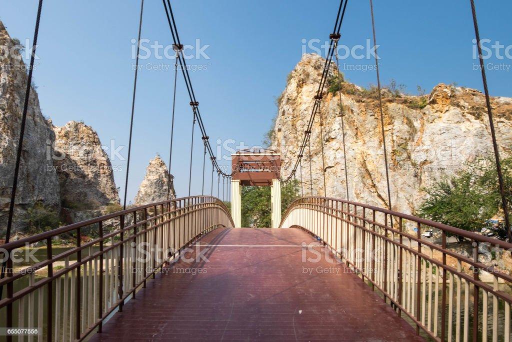 Walkpath on bridge at Khao-Ngu mountain park. stock photo