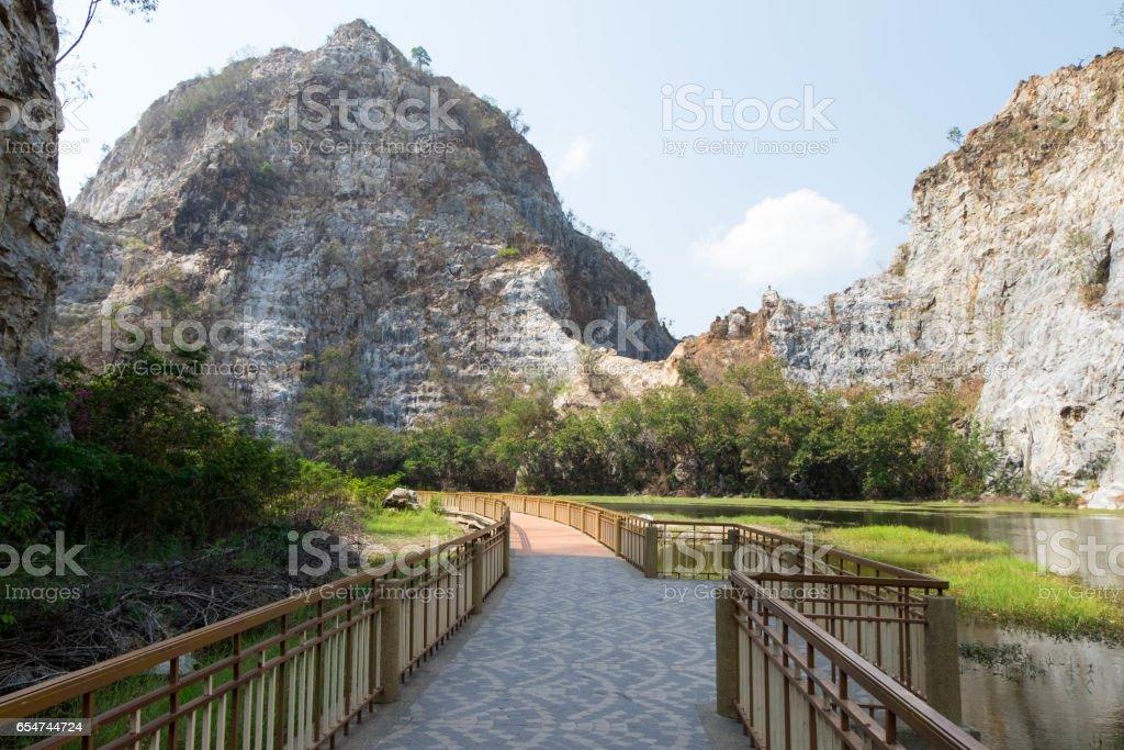 Walkpath or corridors at Khao-Ngu mountain park in Ratchaburi province, Thailand. stock photo
