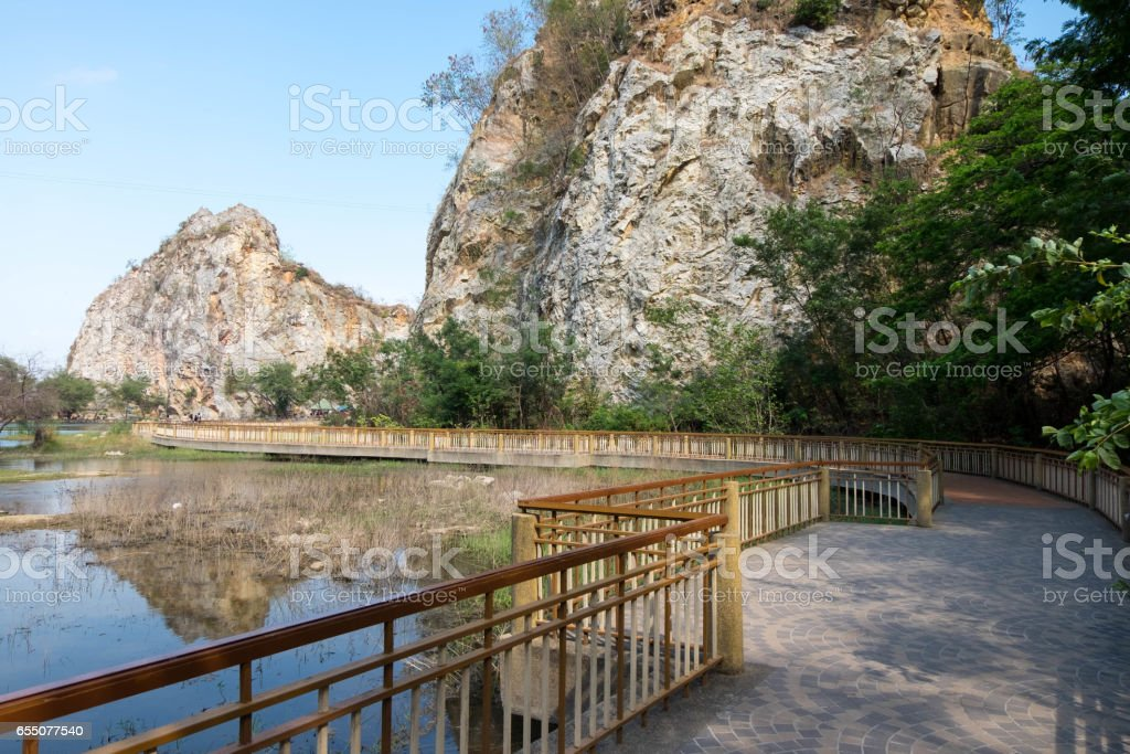 walkpath or corridors at Khao-Ngu mountain park, new tourist attraction. stock photo
