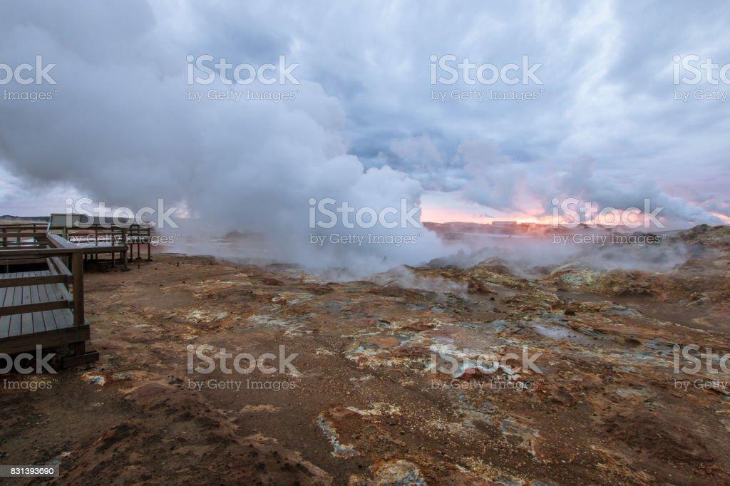 walkpath through Gunnuhver hot springs stock photo