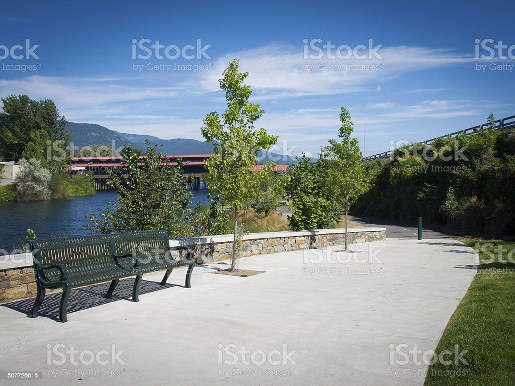 Walkway along harbor in Sandoint Idaho stock photo