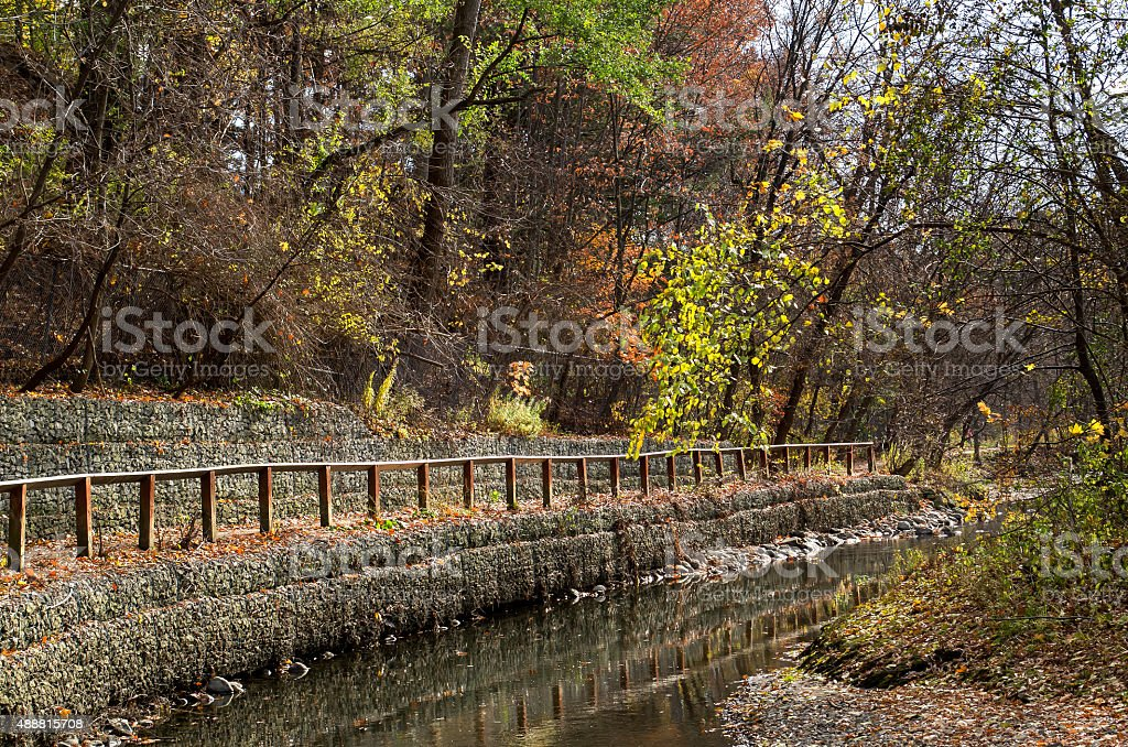 Walkway along the river. stock photo