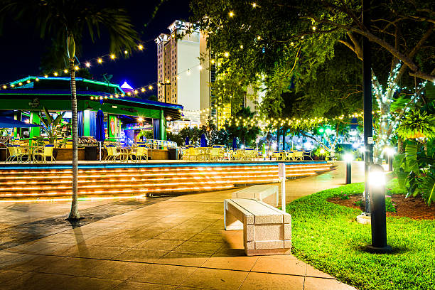 Walkway and restaurant at night in Tampa, Florida. stock photo