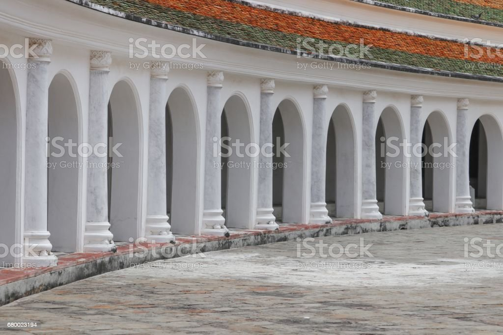 walkway in  temple of Thailand stock photo