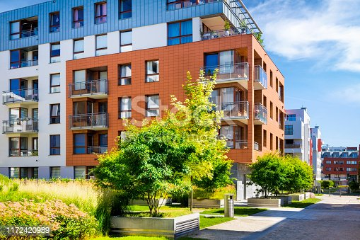 889473004 istock photo Walkway leading along the new colorful cmplex of apartment buildings 1172420989
