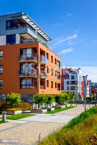 889473004 istock photo Walkway leading along the new colorful cmplex of apartment buildings 889473206