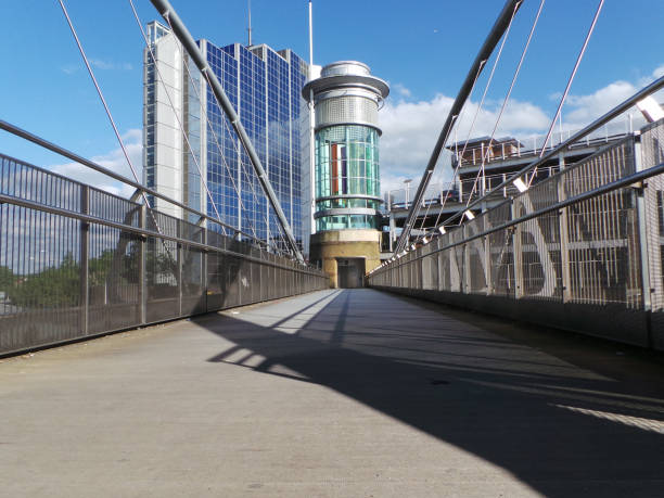 A walkway leading into Festival Place shoppping centre in Basingstoke stock photo