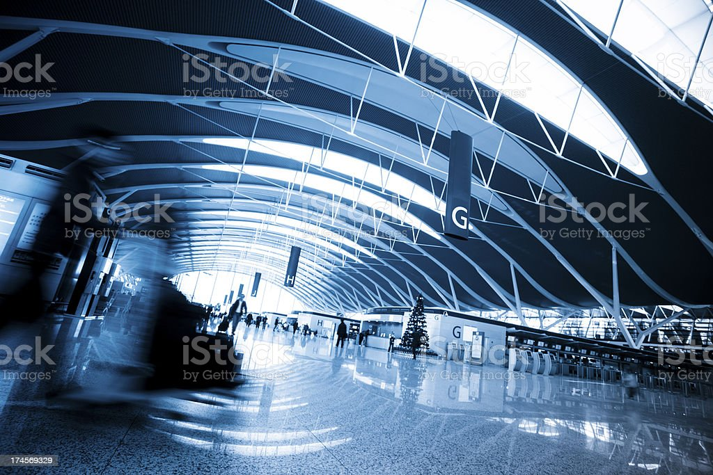 walkway of airport royalty-free stock photo
