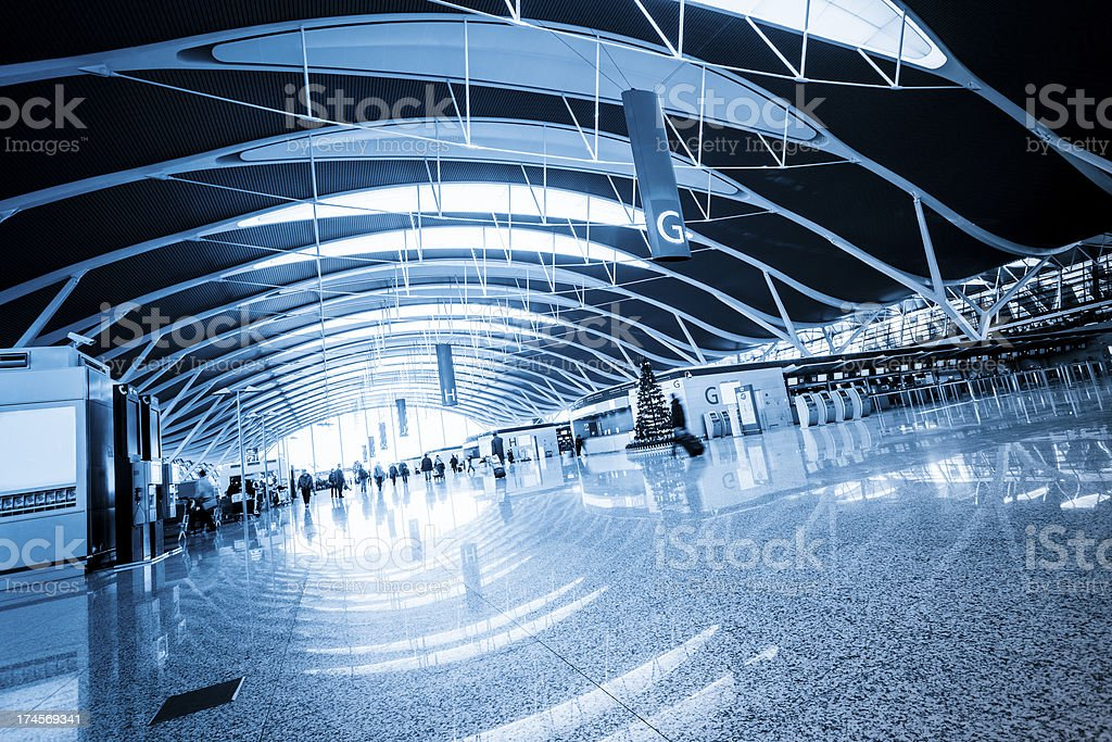walkway of airport royalty-free stock photo