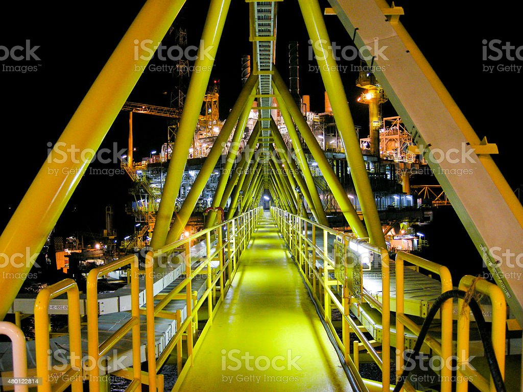 Walkway, Oil and gas platform in ocean stock photo