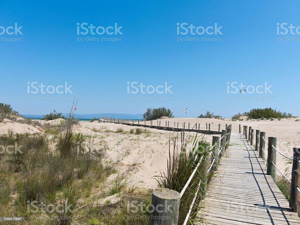 Walkway on the beach. Ebro River Delta. stock photo