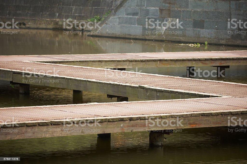 walkway on the lake stock photo