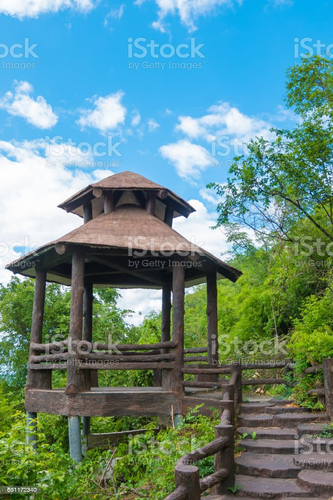 Walkway or walkpath with old pavilion in thailand stock photo