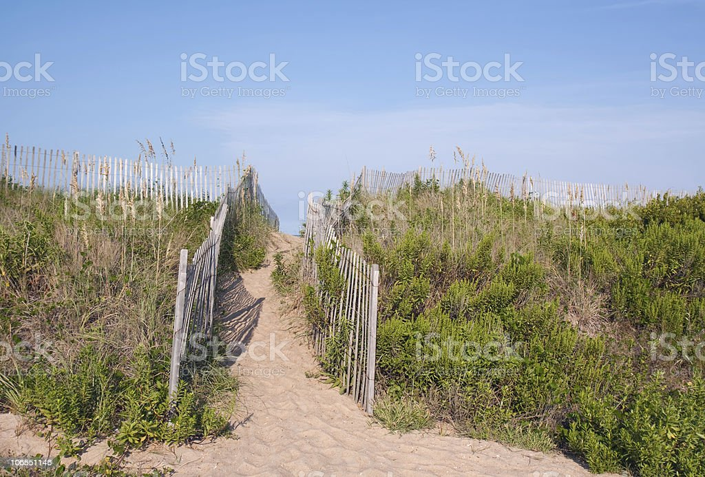 Walkway over sand dunes in North Carolina stock photo