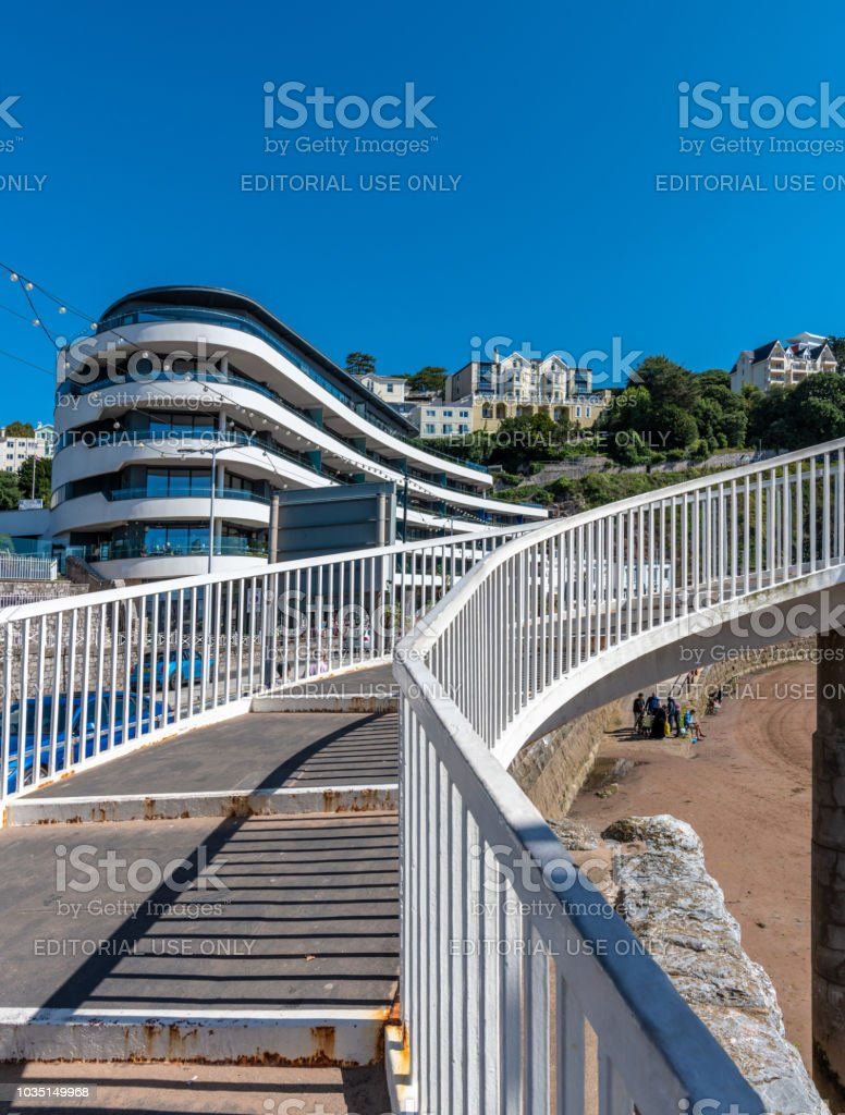 Walkway past modern flats and restaurants in Torquay, Devon stock photo