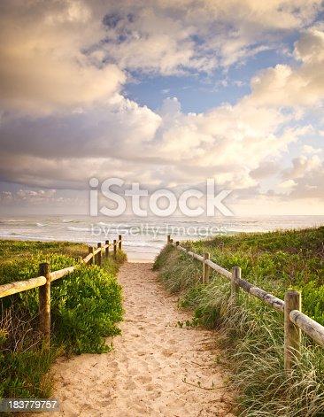 Walkway to Sharpes Beach and Flat Rock at East Ballina / Skennars Head, Northern NSW Australia.